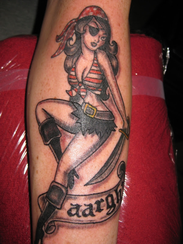 Pirate Pin Up Girl Tattoo Design