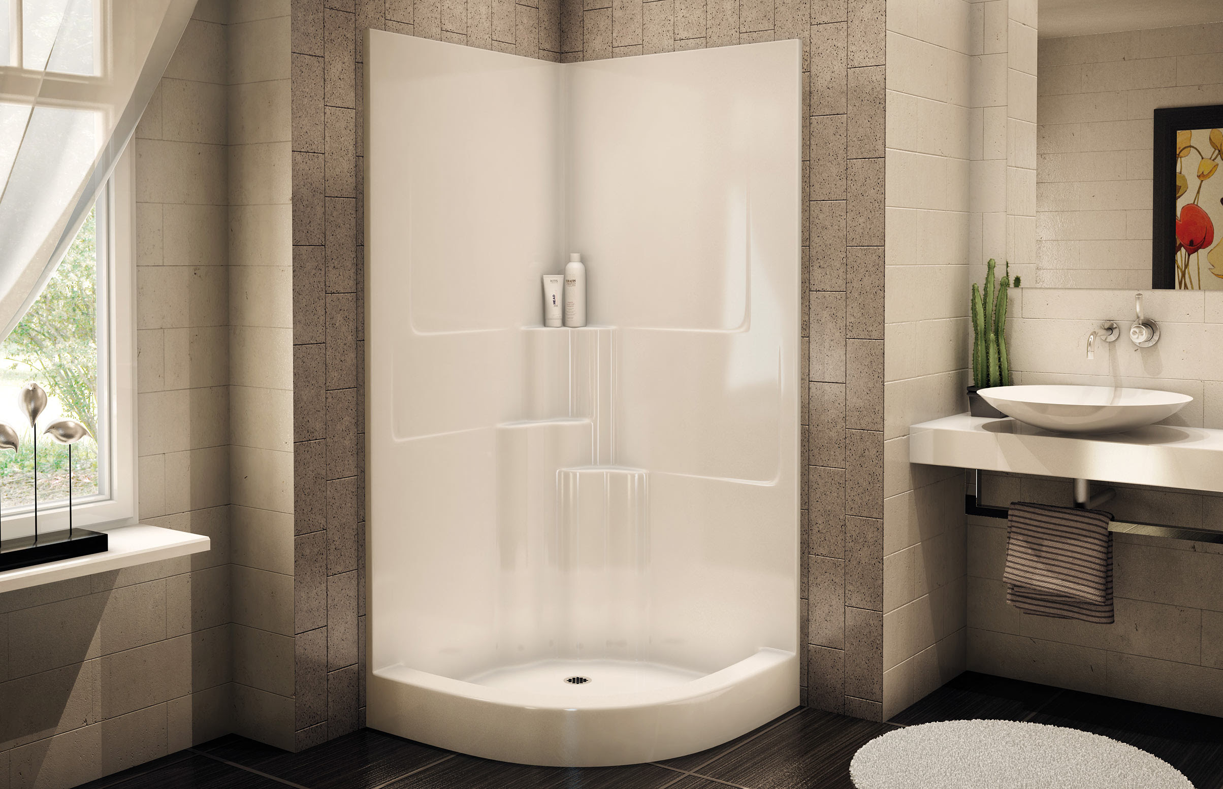 White Corner Shower Units With White Tile And Big Mirror