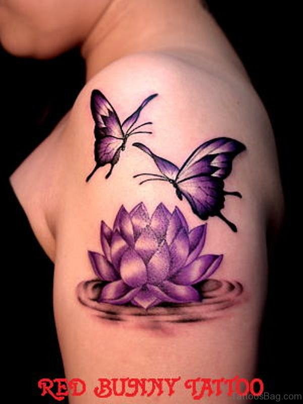 55 Beautiful Butterfly And Flower Shoulder Tattoos