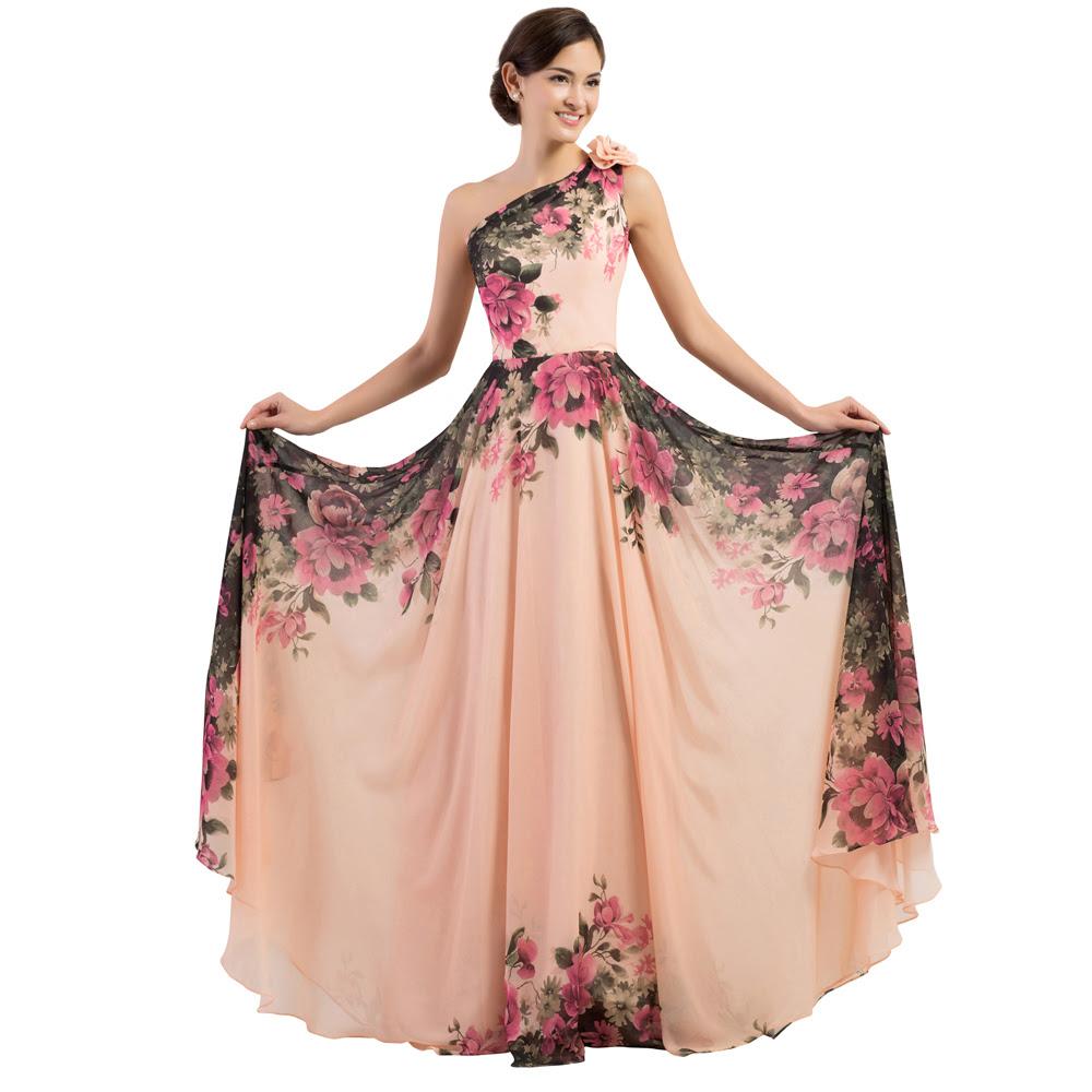 Print long dresses evening