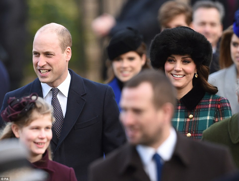 Pictured are Prince William and Kate Middleton, who proudly wore a tartan coat in a nod to the secret trips she took to Anstruther in Scotland with her then-fiance