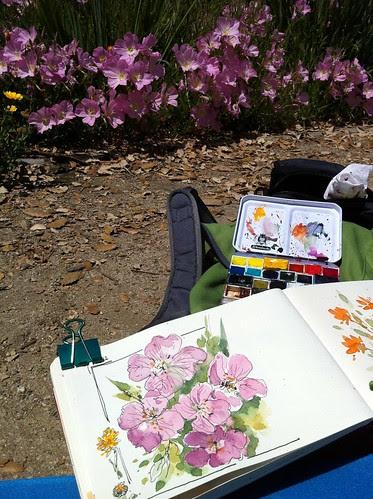 Drawing little flower garden by apple-pine