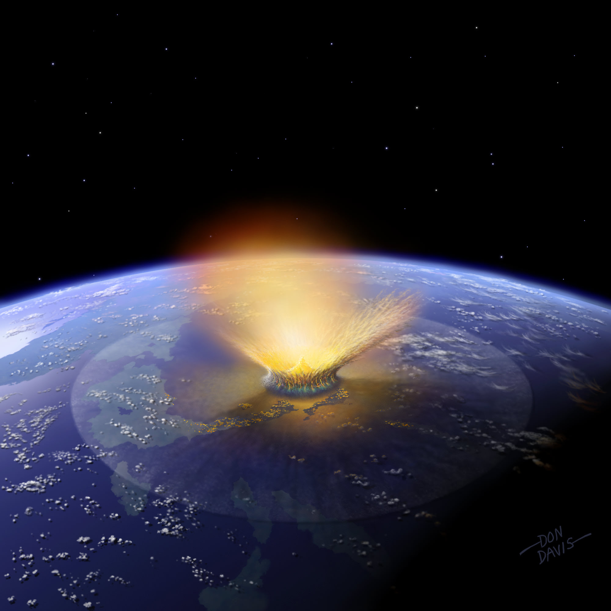 This is an artist's depiction of a 10-kilometer (6-mile) diameter asteroid striking the Earth. New evidence in Australia suggests an asteroid 2 to 3 times larger than this struck Earth early in its life. Credit: Don Davis/Southwest Research Institute.