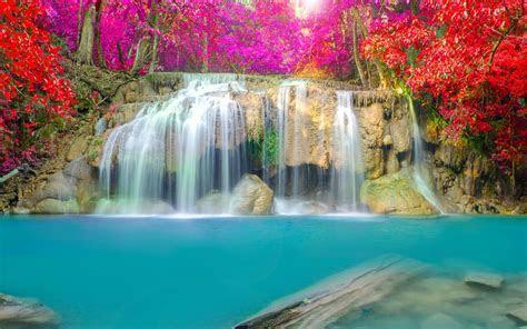 Wallpaper Waterfall, Thailand, Erawan Falls, Erawan