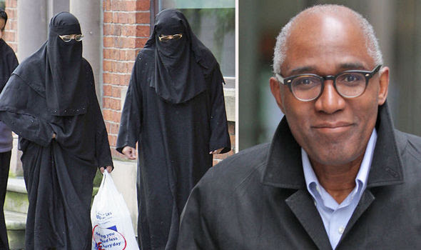 Trevor Philips, right, and women wearing the Burka, right