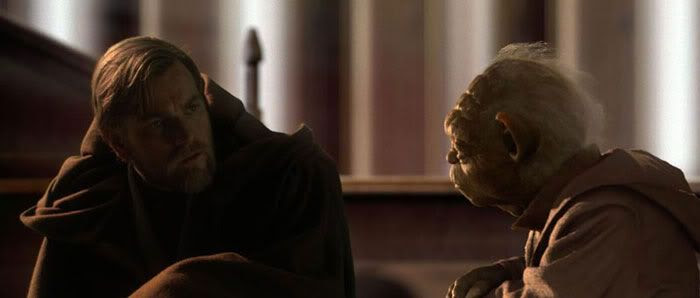 Obi-Wan and Yoda confer in the Jedi Temple.