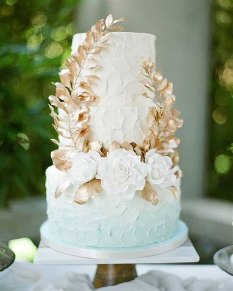 Ethereal Pale Blue Ombré Buttercream Wedding Cake   Mon