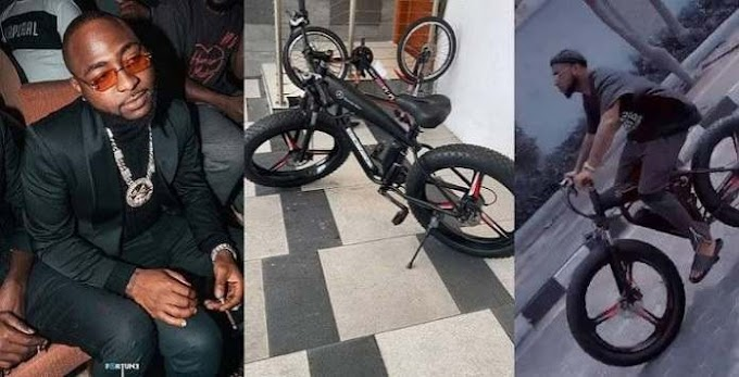 See the Mercedes Benz Bicycle Worth N1.3 million Davido Just Bought (Photos+Video)