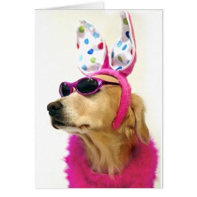 Golden Retriever Easter Princess - Fun Easter Greeting Card