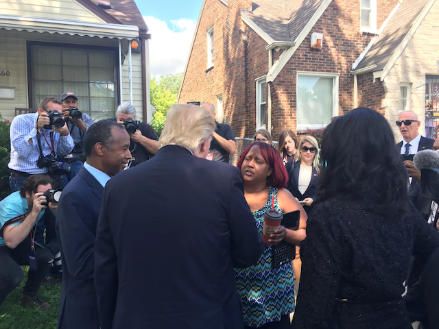 Carson and Trump talk to Carson's boyhood home's current homeowner.