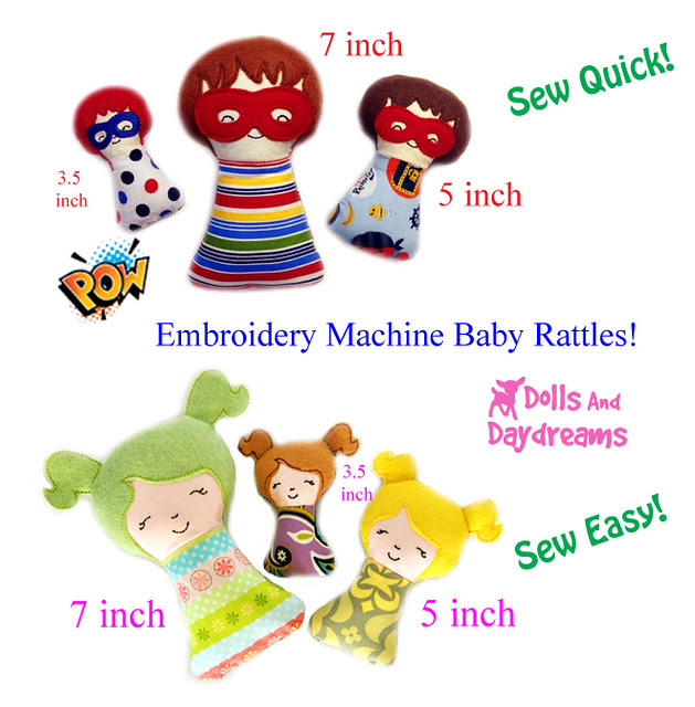 Baby Rattles ITH sewing patterns