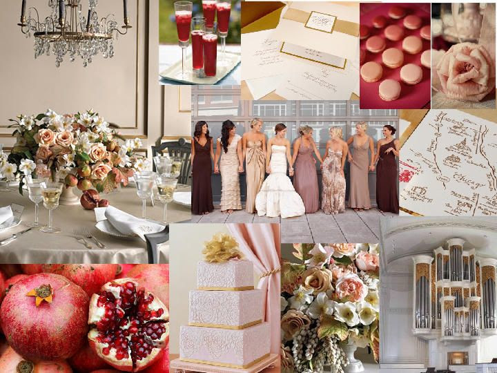 Pomegranate ~ Gold ~ Rose : PANTONE WEDDING Styleboard : The Dessy Group // sooo in love with the mismatching bridesmaids dresses and pomegranate color