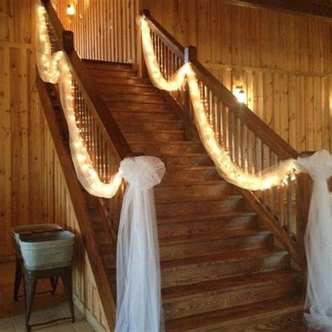 Tulle and lights for the stairs :Over Doors?   Decorating