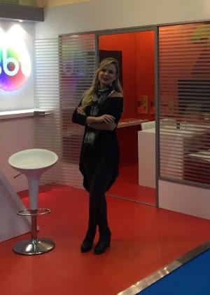 Eliana esteve no estande do SBT na Mipcom, em Cannes, na França
