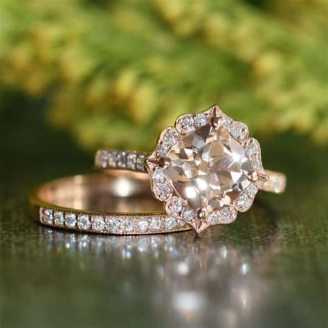 Vintage Floral Morganite Engagement Ring Diamond Wedding