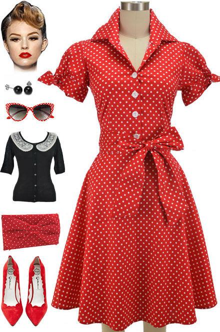 50s style plus size red polka dot tie sleeve full skirt