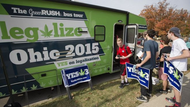 Pro-marijuana legalisation group ResponsibleOhio at Miami University on 23 October in Oxford, Ohio.