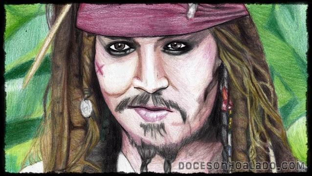 Homenagem de Quinta Piratas do Caribe - Na vegando em águas misteriosas Jack Sparrow Johnny Depp desenho