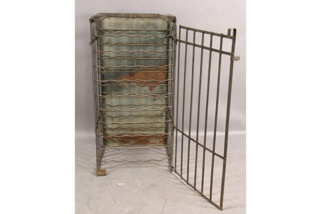 Antique Wrought Iron Wine Rack Cage Single Door C 1930 For Sale