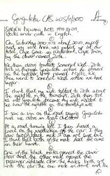Details: Shrien Dewani's handwritten police statement from the night his wife was murdered