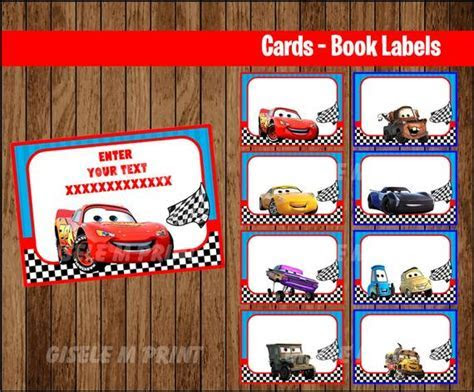 Disney Cars 3 Printable Cards tags book labels stickers