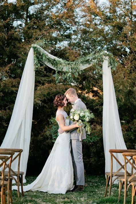 Simple Wedding Arbor With Greenery   Elizabeth Anne