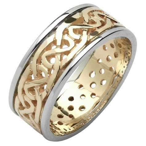 Irish Wedding Ring   Mens Celtic Knot Pierced Sheelin