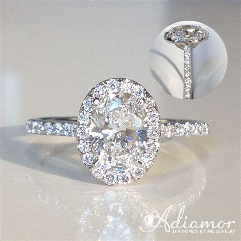 An oval cut diamond will stand out in our French cut halo