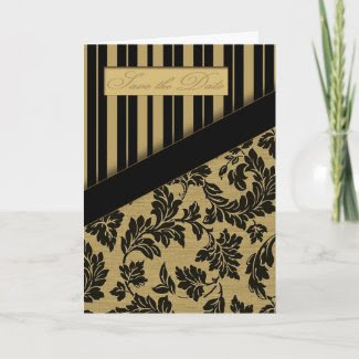 Regalia - Save the Date (Black/Tan) card