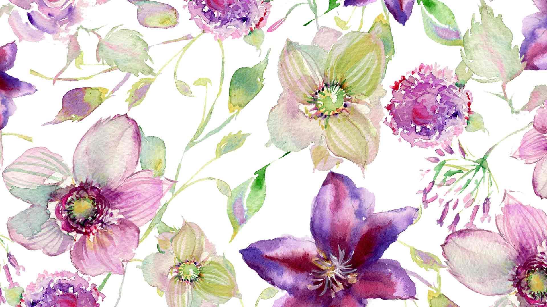 violet watercolor flower wallpaper download large screen