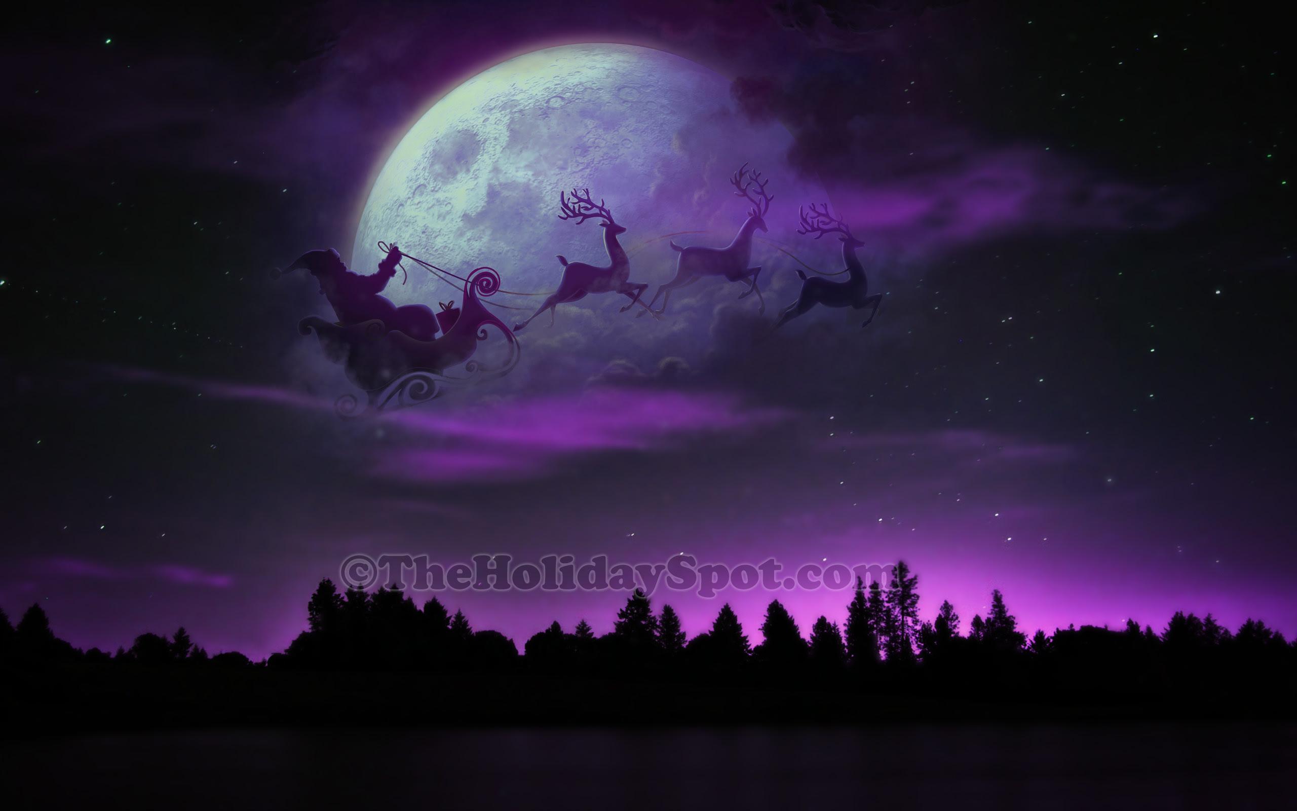 hd wallpaper santa sleigh and reindeer at christmas night
