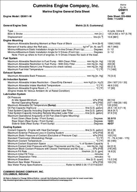 Cummins QSM 11-M Marine Diesel Engine General Data Sheet