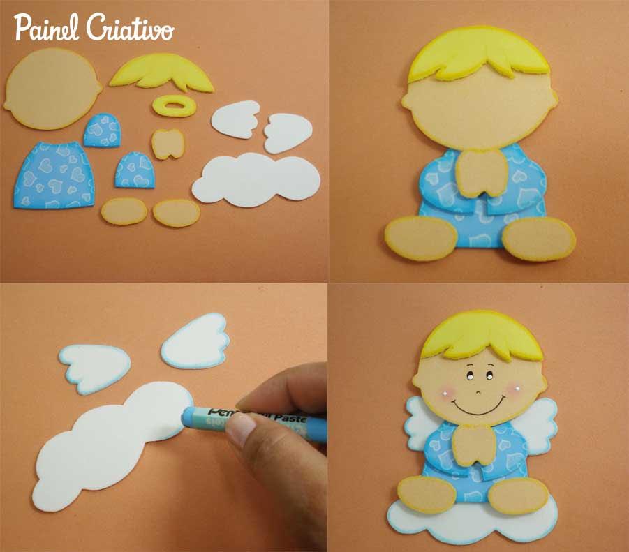 Lembrancinha porta retrato anjinho EVA decoracao quarto criancas 2