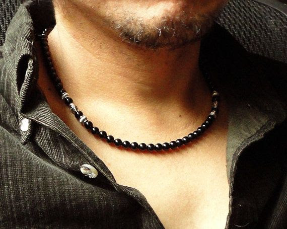 Mens Black Onyx Necklace Handmade Black Stone by mamisgemstudio, $29.95