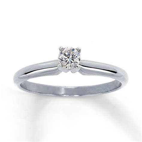 Diamond Solitaire Ring 1/5 carat Round cut 14K White Gold