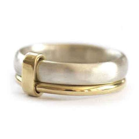 Silver and 18ct gold mens ring   mens or ladies wedding ring