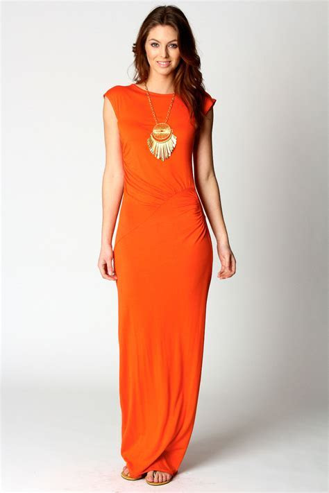 Orange Maxi Dress With Sleeves   Dresscab