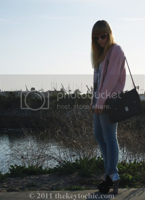 vintage pink cardigan, Cheap Monday jeans, velvet glitter boots, California fashion blog