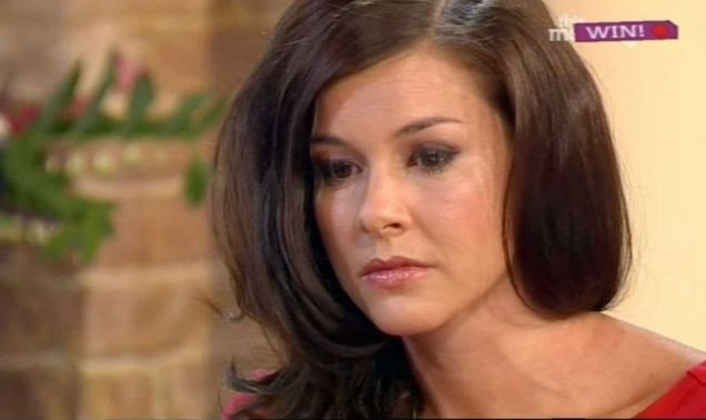 Stress: Imogen Thomas on This Morning, where she hit out at the footballer's super-injunction Picture: ITV/Splash