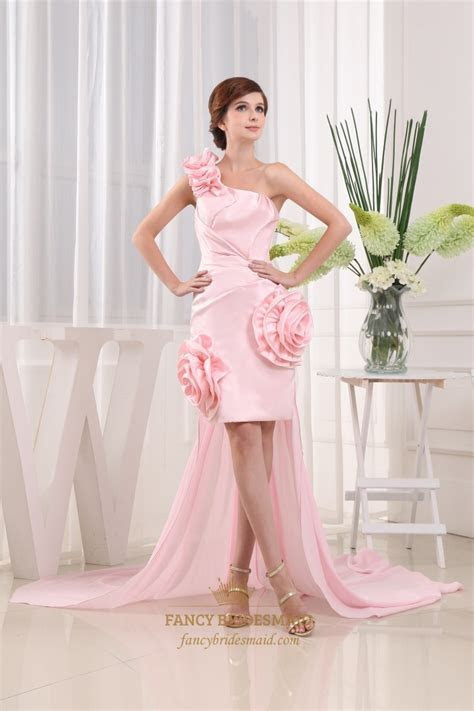 High Low Dresses With Detachable Trains, Pink One Shoulder