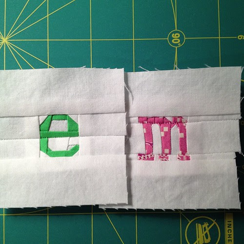 "e, m - both about 1"" square. I reduced the pattern by 50%. Pattern by @quietplay 2 more letters to go, about 1 hour a letter at this size."