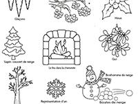 Imagier lié au vocabulaire de l'hiver, la nature et le froid