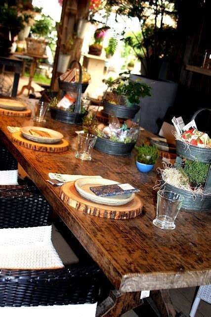 Wood Slice Plate Charger plus look at the table and linens