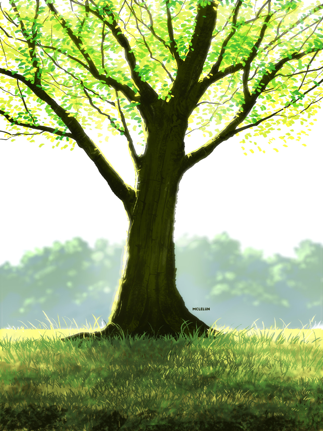 Photoshop default brush tree painting
