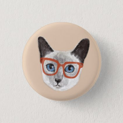 Hand-painted Hipster Siamese Cat Wearing Glasses Pinback Button
