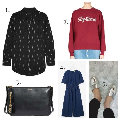 Kate Moss for Equipment Shirt - Isabel Marant Etoile Sweatshirt - Saint Laurent Bag - COS Jumpsuit - Emerson Fry Slides