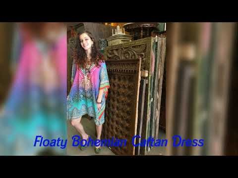 f601789a83 Exotic Vibrant Bohemian Colorful Festive Caftan Dress
