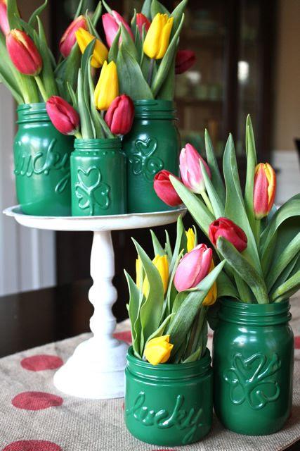 St. Pat's Magic Vases - YoT #stpatricksday #tulip #krylon