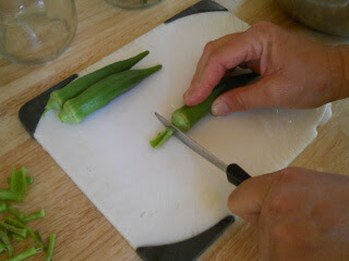 Cutting Ends Off of Okra