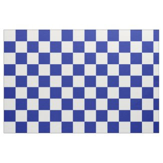 Royal Blue and White Checkerboard Pattern Fabric